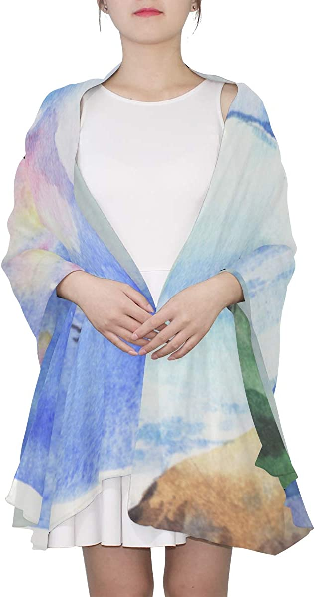 Hand Drawn Watercolor Lighthouse Unique Fashion Scarf For Women Lightweight Fashion Fall Winter Print Scarves Shawl Wraps Gifts For Early Spring