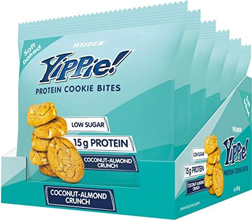 Weider Yippie! Cookie Bites, Coconut-Almond Crunch, Eiweiß-Kekse mit Whey Protein, 6x50g Beutel, 15g Protein, Fitness Snack