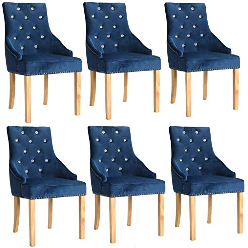 WT Trade 6er-Set Design Esszimmerstuhl SAMT-Bezug Blau | Küchenstuhl Essstuhl Polstersessel | mit...