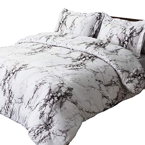 Bedsure Marble Printed Comforter Set (Full/Queen, White) - 3-Piece Set - Super Soft Microfiber Bedding for All Seasons - Reversible Down Alternative Comforter with 2 Pillow Shams