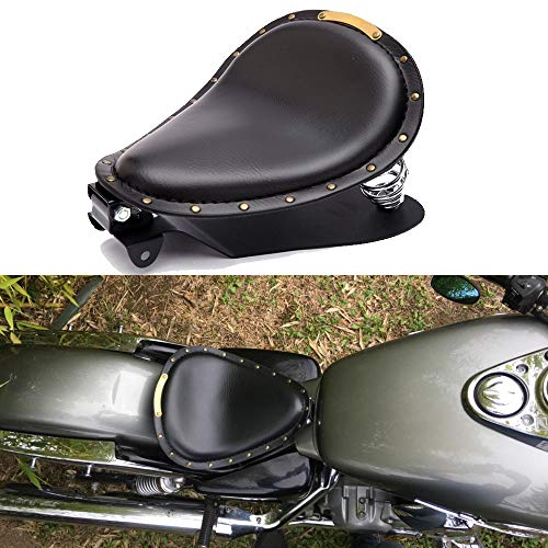 Asientos para moto, Negro asiento individual de cuero con resorte, para Sportster Forty-Eight 48 XL883 1200 Chopper Custom