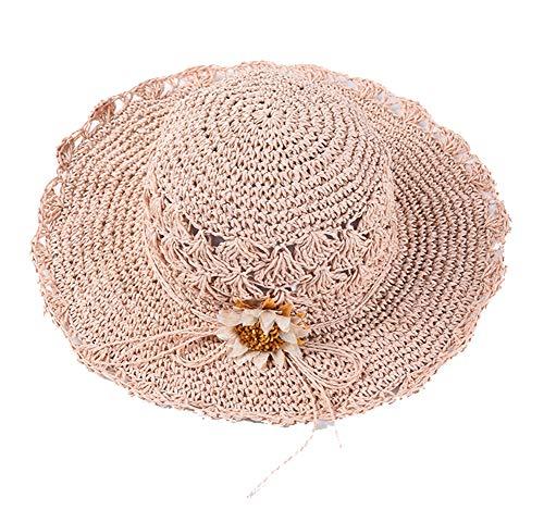 Mujer Sombrero de Paja Sombrero de Playa de Sombrero para el Sol Protector Solar de Verano para Vacación Sombrero