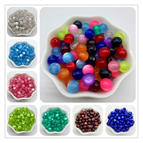 TFGUOqun Cuentas Sueltas, 200 unids 8 mm Resina Espaciador Perlas encantos con Perlas de Ojo de Gato Redondo Perlas Sueltas para la fabricación de Joyas para Hacer Joyas DIY (Color : M)
