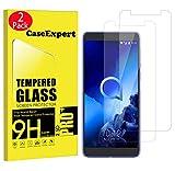 CaseExpert 2 Pack - Alcatel 1X (2019) Protector de Pantalla, Ultra Tanque Transparente Cristal 9H Cristal Templado Glass Protector de Pantalla para Alcatel 1X (2019)