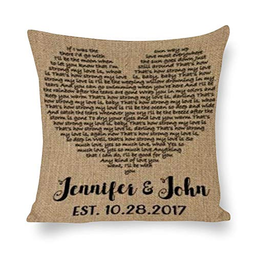 BYRON HOYLE Wedding Gift Cushion Cover,Song Lyrics Art Pillow cases,Cotton Linen Pillow Covers for Bedroom and Couch,Square Decorative Throw Pillow Cover,Home Decor,Housewarming Gift