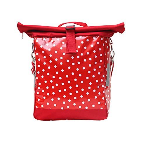 IKURI einseitige Fahrradtasche für Gepäckträger Packtasche, abnehmbar, mit Klickfix Vario Haken, mit Tragegurt zum Umhängen Wachstuch, gepunktet, Modell Lunares rot