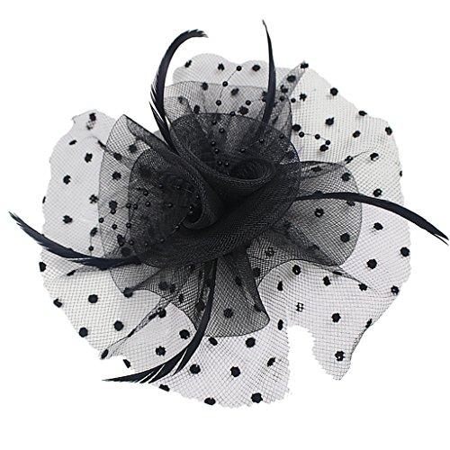 Colcolo Nuptiale Fascinateur Hairclip Headpiece Mariage Voile Plume En épingle à Cheveux Multi-couleur - Noir