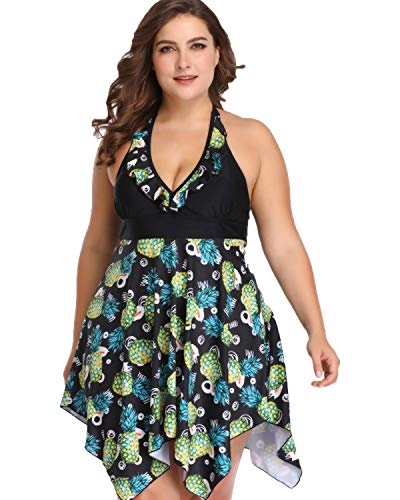 sanatty Women's Plus Size Swimsuit Floral Printed Swimwear Two Pieces 2XL-6XL (Pineapple, 4 Plus)