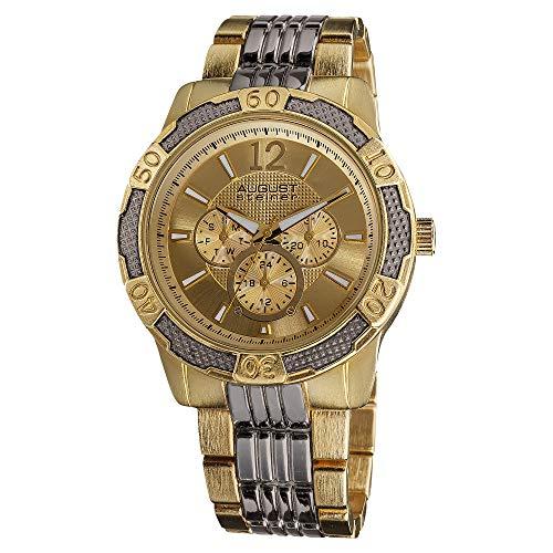 August Steiner Men's AS8058 Quartz Multi-Function Sport Bracelet Watch (Two-Tone Gold)