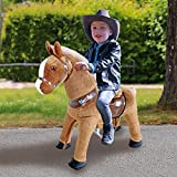 WondeRides Ride on Horse Toy Plush Walking Animal Giddy up Pony Mechanical Riding Horse Medium for Age 4-9 (35.8 Inch Height), Walking Horse Toy with Wheels