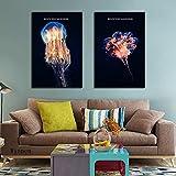 Cuadros Decoración arte de pared carteles de medusas nórdicas fondo negro lienzo pintura acuario decoración e imágenes para sala de estar 50x80cmx2 sin marco