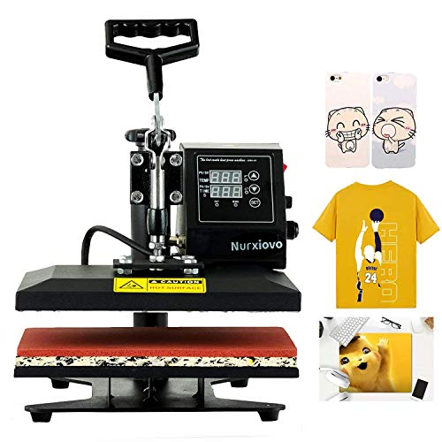 Nurxiovo 12x10 Heat Press Machine for T Shirts, 360 Degree Swing Away Heat Transfer Machine, Hot Pressing Vinyl Digital Sublimation for T-Shirt, Mouse Pad, Phone Case, Cotton, Bags, Tablecloth (12x10)