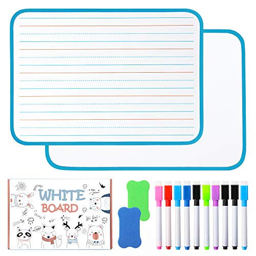 Chrider Dry Erase Board for Kids (Set of 2, 12'x9'x0.24'), Kids Lined Magnetic Dry Erase Board for...