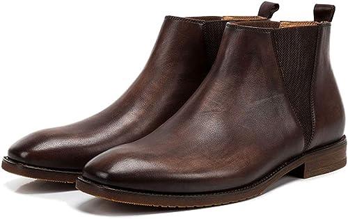 Liabb Botines Chelsea para Hombre Botines de Negocios de Cuero Genuino Tops de Punta Cuadrada botas Martin botas de Caballero de Motocicleta,Coffee,44