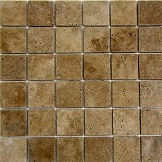 2x2 Noche Noce Tumbled Travertine Mosaics Meshed on 12