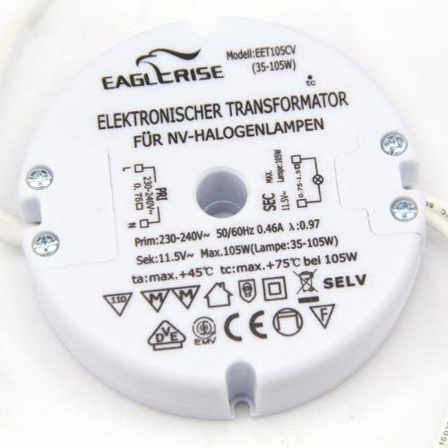 Eaglerise Elektronischer Halogen Trafo AC230V auf AC 12V 35W-105W Trafo Transformer Transformator Treiber für NV-Halogen Lampe