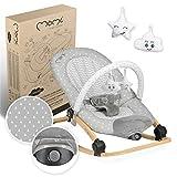 MOMI LUMIWOOD Hamaca para bebés de hasta 9 kg, acolchado suave, estructura de madera, pies antideslizantes, correa de sujeción |48x80x51cm |Módulo sensorial, bloqueo de la función de balanceo