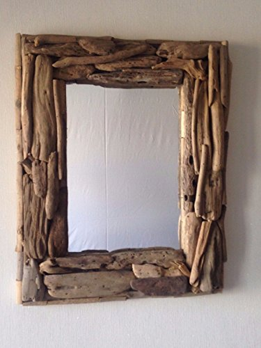 Driftwood rettangolare specchio a mano in stile rustico Shabby Chic. Fair Trade by Funky Global