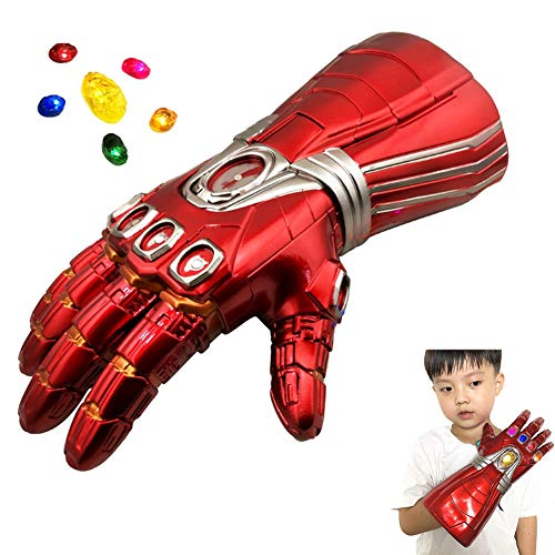 CYCG Iron Man Handschuhe for Kind, Tony Handschuhe mit LED Energy Stones (Trennbar) Latex Rot Gauntlet für Halloween Party Cosplay Kostüm