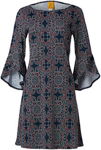 RUBY RD. Vestido de Mujer con Estampado de Puff, Azul Marino Multicolor, 1 X
