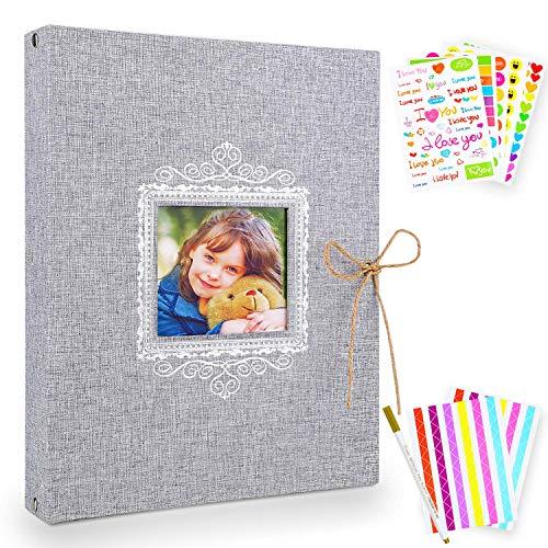 NEUFLY Fotoalbum zum selbstgestalten Schwarze Seiten Fotoalben Scrapbook Album Geschenk f¨¹r Baby Familie Valentinstag Geburtstag Jahrestag Geschenk
