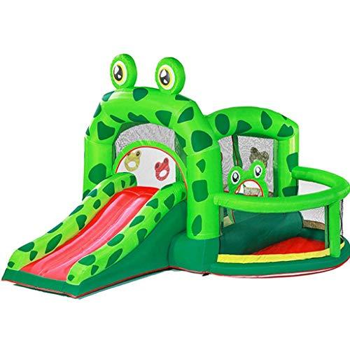 WRJY Castillo Inflable Trampolín Inflable para el hogar Tobogán para niños Parque de Atracciones al Aire Libre Equipo Castillo de Juego de Rana (Color: Verde, Tamaño: 330x300x235cm)