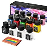Smalltongue 14 Colors Acrylic Leather Paint Kit for Shoes, Sneaker, Couches, Bags, Car Seat, Acrylic Leather Dye Set with Leather Preparer and Deglazer, Acrylic Finisher for Beginner, Airbrush
