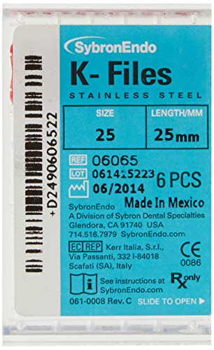 SybronEndo 6065 Endo Hand K-File, 0.02 mm Taper, 25 mm Length, Stainless Steel, 25 Tip Size, Red (Pack of 6)