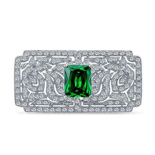 Bling Jewelry Art Deco Vintage Estilo Verde AAA CZ rectángulo Bufanda Broche Pin para Mujeres simulado Corte Esmeralda Plateado latón