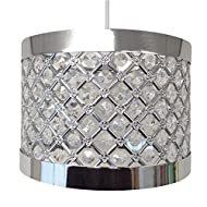 Sturdy silver coloured frame Suitable for universal pendant fittings 16.5 cm high and 24 cm diameter approximately Use with maximum 60 watt bulb Full fitting instructions on the packaging