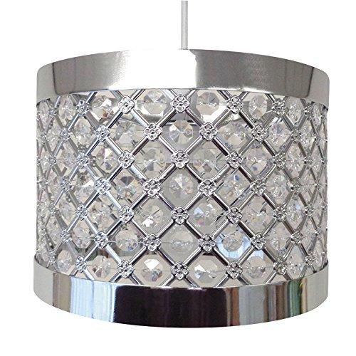 Moda- Accesorio de Pantalla, Lámpara Colgante de Techo, Moderno, Brillante, Color Plateado