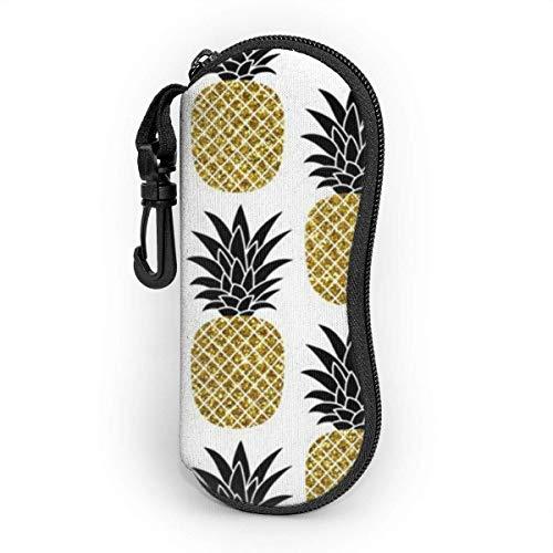 VimcustomPr PineApp-le - Funda para gafas de sol de color dorado y blanco, resistente al agua y duradero, con cierre de neopreno
