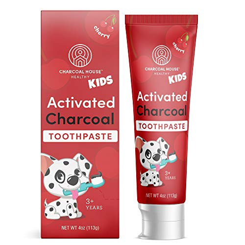 Activated Charcoal Toothpaste for Kids by Charcoal House | Non-Toxic, Teeth Whitening, Organic Cherry Flavor, Toddler Toothpaste, All Natural, Vegan, Fluoride Free