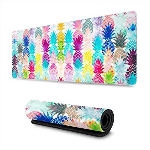 Waldeal Watercolor Colorful Pineapple Art Extra Large Gaming Mouse Pad for Computer, 300mmx800mmx3mm