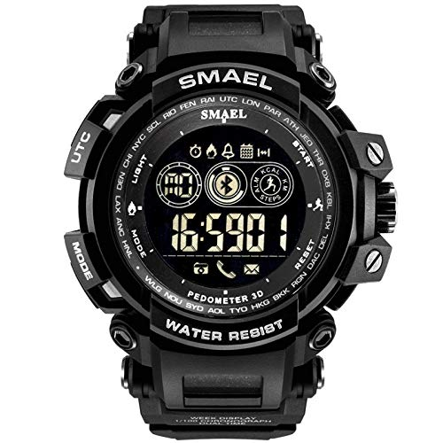 Fghyh Herren Uhr Smart Watch Wasserdicht Bluetooth Sport Armbanduhr Für Android Ios Telefon(BK)