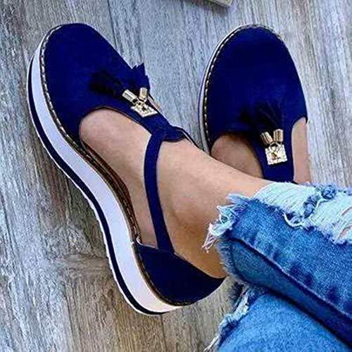 DQS Sandalias para Mujer, Nuevas Sandalias Informales con Hebilla para Nevera, tacón, Plataforma Plana, Verano, Sandalias de Talla Grande para Mujer, Sandalias para Mujer, Zapatos para Mujer 2