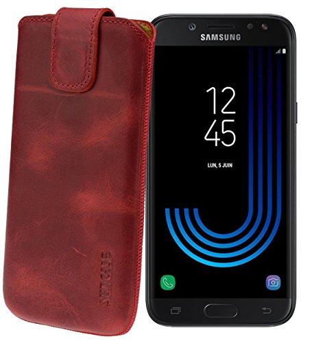 Suncase Original Etui Tasche für Samsung Galaxy J7 2017 (DuoS) | mit ZUSÄTZLICHER Hülle/Schale/Bumper *Lasche mit Rückzugfunktion* Handytasche Ledertasche Schutzhülle Hülle Hülle in antik-rot