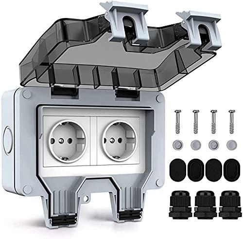 SDGV Enchufe de protección, doble interruptor, toma externa con tapa