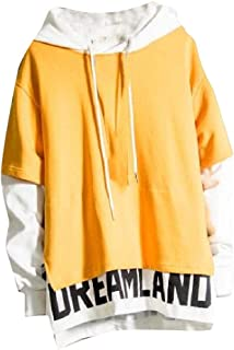 Macondoo Men's Fashion Pullover Sport Stitching Hoodie Sweatshirts