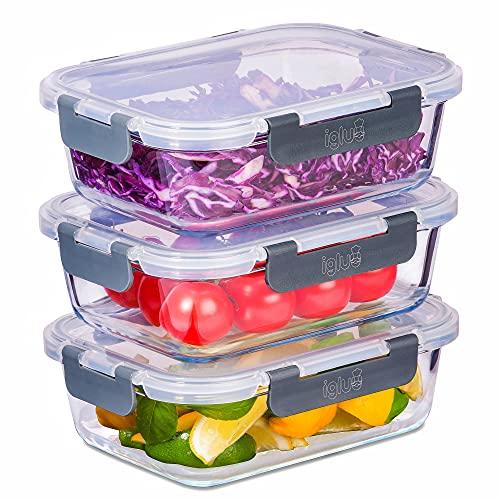 Igluu Meal Prep - Contenitori in vetro con coperchio a scatto a prova di perdite, ermetico per il alimentari, senza BPA, utilizzabile nel microonde, forno e lavastoviglie, 1050 ml (confezione da 3)
