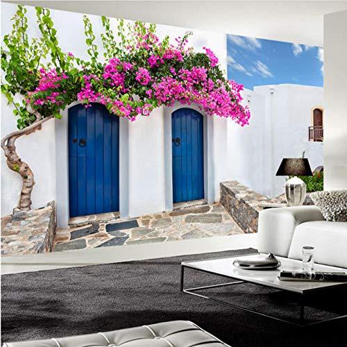 Wandbehang, muurstickers, mediterrane stijl, 3D-fotobehang, Griekenland, gebouwen, muurschildering, restaurant, café, slaapkamer, behang, muur