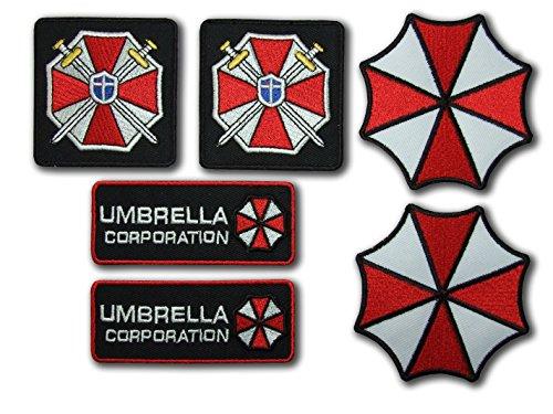 Resident Evil Umbrella Corporation Costume Cosplay Fancy vestito ferro su toppa – Set di 6 toppe ricamate