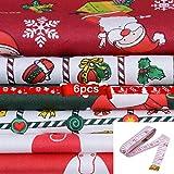 MoneRffi - Trapunta pre-tagliata in cotone con motivo natalizio patchwork per fai da te, cucito albero di Natale, vestiti per bambini, grembiule, 6/10 pezzi (50 cm x 40 cm)