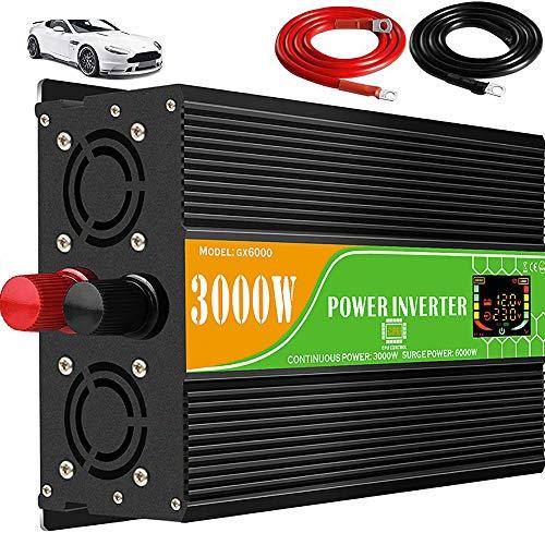 Auto omvormer, DC 12V naar AC110V / 220V omvormer, 2 ventilatoren, 2 ac-stopcontacten, met USB-interface, 2000W / 4000W / 6000W piekvermogen 3000W USA