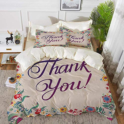 Flower Decor,Thank You Quote Surrounded by Festive Time like Flowers Fruits and Leaves,Hypoallergenic Microfibre Duvet Cover Set 230 x 220cm with 2 Pillowcase 50 X 80cm