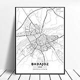 lubenwei Huelva A Coruna Valladolid Alicante Badajoz Mostoles Spain Map Poster 50x70cm Sin Marco AQ-844