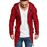 Men Drawstring Hoodie Trench Long Coat Jacket Open Front Cardigan Long Sleeve Solid Color Zipper Hooded Sweatshirt with Pockets Casual Slim Fit Outerwear Sportswear