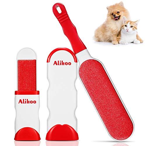 Alihoo Pet Pinsel, Bürsten Haarentferner mit doppelseitiger fusselbürste und selbstreinigender Basis, perfekt fur Mobel,Teppich,Sofa,Hund,Cat (Rot)