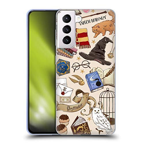 Head Case Designs Officially Licensed Harry Potter Hogwarts Pattern Deathly Hallows XXXVII Soft Gel Case Compatible with Samsung Galaxy S21+ 5G