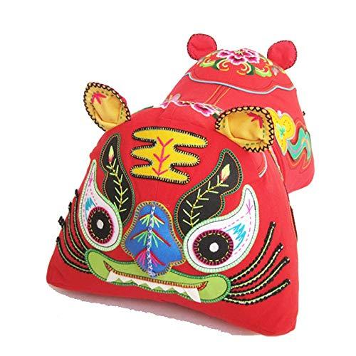 YWSZJ Hecho a Mano la Cabeza del Tigre Almohada, Tigre del paño del Amortiguador del Tigre Tela Juguete Decoración bebé Almohada bebé Folk Bordado a Mano (Color : Red)